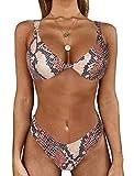 Lovelegis Costume Donna Due Pezzi - Bikini - da Bagno - Serpente - Pitone - Pitonato - Slip - Top Imbottito - Coordinato - Sexy - Colorato - Ragazza - Mare - Colore Marrone - Taglia S