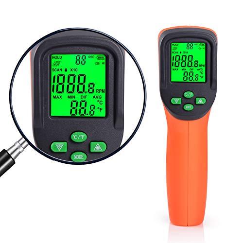 Ehdis Tacómetro Digital RPM LCD láser sin Contacto, Metro De Velocidad del...