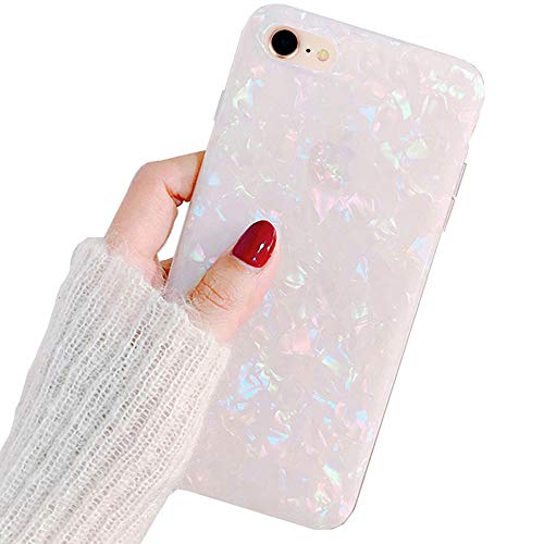 LLZ.COQUE for iPhone 7/8 / SE 2020 Case, Seashell Marble Pattern Design Case Soft Silicone TPU Shockproof Bumper Cover Ultra Thin Slim Fit Girly Back Case Cover - Rainbow