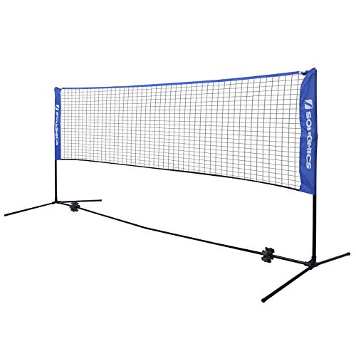 SONGMICS Badminton Net Set, Portable Sports Set for Badminton, Tennis, Kids Volleyball, Pickleball, Easy Setup, Nylon Net with Poles for Indoor Outdoor Court, Blue USYQ500V2