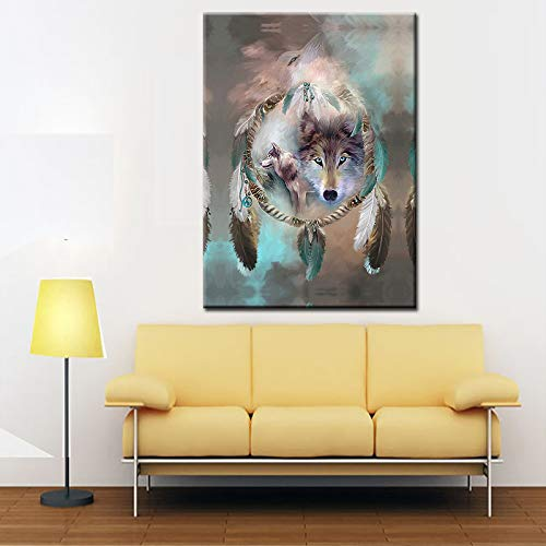 WSNDGWS Modern Fox Dream Catcher Lienzo Pintura Decorativa Hotel hogar Fondo Pasillo Pintura decorativaA4 40x60cm