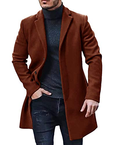 Gafeng Mens Single Breasted Trench Coat Notched Lapel Pea Coat Slim Fit Wool Blend Long Winter Outwear Brown