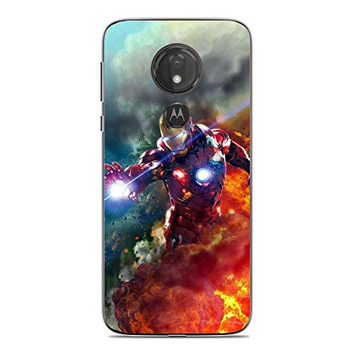 Beautyhouse Case for Moto G7 Power, Marvel-Spiderman Iron-Man 1 Clear Transparent Slim Soft TPU Shockproof Protective Cover