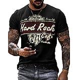 Camiseta de Manga Corta con Estampado de Letras de Hard Rock para Hombre, Camisetas Casuales de Cuello Redondo desgastadas Vintage