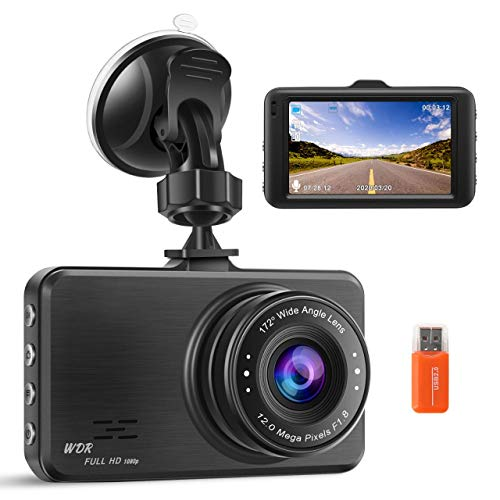 Dash Cam FHD 1080P In Car Camera Dashcam for Cars,170° Wide Angle 3 Inch LCD Screen WDR Loop Recording G-Sensor Motion Detection Parking Monitor(2021 Newest Model)