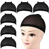 FANDAMEI 6 Pièces Cap de Perruque Bonnet Perruque Femme Nylon Wig Cap Élastique Chapeau de Perruque pour Femmes et Hommes Noir