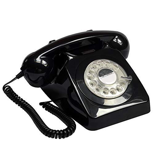 GPO 746ROTARYBLA Retro Telefon mit Wählscheibe im 70er Jahre Design Schwarz