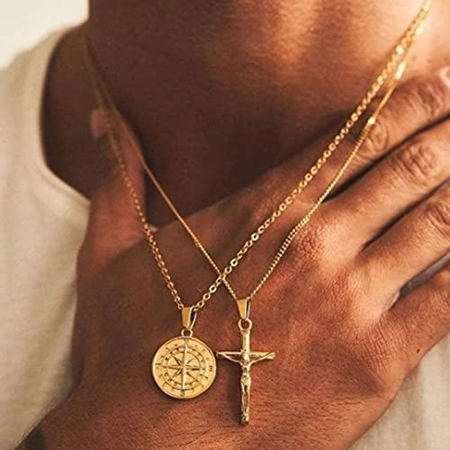 MIKUAX collarJoyería de Viaje, Collar con dijes de brújula de Acero Inoxidable Dorado, Cadena Colgante con Forma de Moneda de Estrella del Norte, Regalo