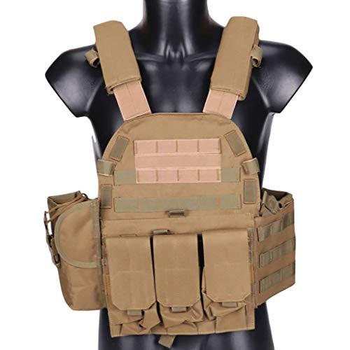 Chaleco táctico Combate del Entrenamiento del Chaleco, Ligero Ajustable CS Chalecos de Camuflaje Campo al Aire Libre Equipo de Combate (Color : Khaki)
