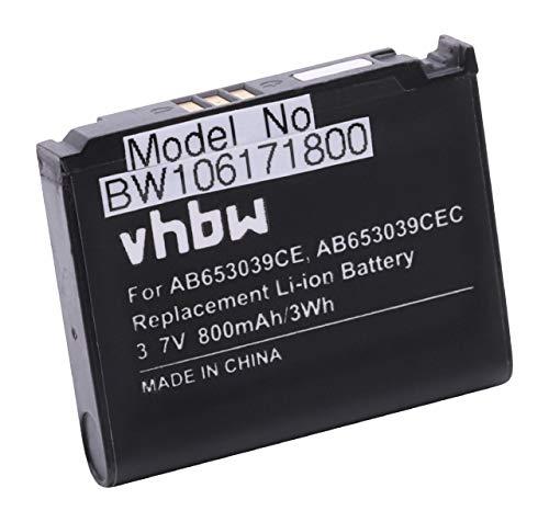 vhbw Li-Ion Akku 800mAh (3.7V) für Handy Smartphone Handy Samsung SGH-U808, SGH-U900 Soul, SGH-U900V, SGH-U908, SGH-Z240, SGH-E950 wie AB653039CE.