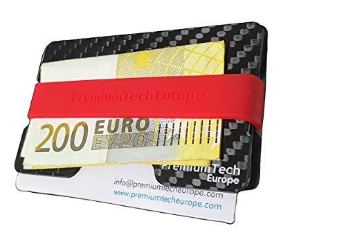 PremiumTech - Cartera Minimalista de Fibra de Carbono con Protección Antirrobo RFID y NFC. Tarjetero Metálico para Tarjetas de Crédito y Billetes para Hombre y Mujer (Carbon Fiber Edition)