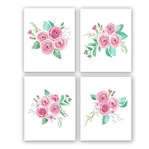 """Set of 4 - Watercolor Pink Flower Art Print,Blossom Floral Canvas Wall Art Printing for Girls Bedroom Decoration,Gift.(Unframed,8""""X10"""")"""