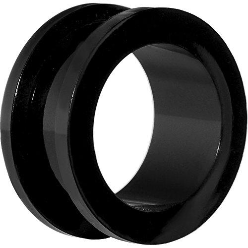 SHOKK Dilatación acrílica tipo túnel para la oreja, hecha de plástico, 2-24mm, color negro