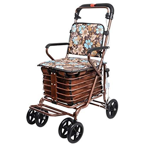 Shopping Trolley- Carrito de Compras de Cuatro Ruedas para Personas Mayores, un Andador con Asientos con Ruedas, Carro de Ruedas Plegable con Asiento