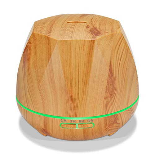 550ML Essential Oil Diffuser Wood Grain, Octagonal Ultrasonic Aroma Diffuser Cool Mist Humidifier, 7 LED Light Colors with 4 Timing Modes Adjustable Mist Modes for Home Bedroom Office (Color : B)