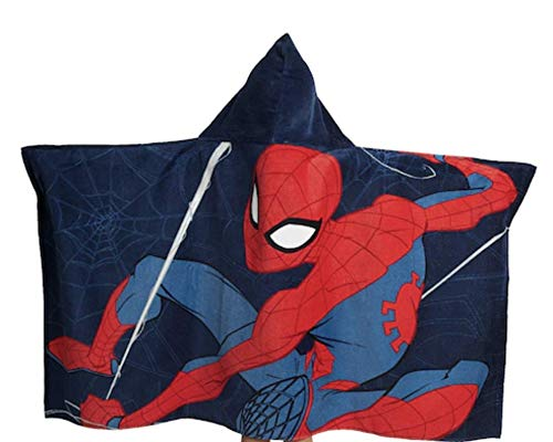 Jay Franco Marvel Spiderman Web Head Super Soft & Absorbent Kids Hooded Bath/Pool/Beach Towel - Fade Resistant Cotton Terry Towel 22.5' Inch x 51' Inch (Official Marvel Product)