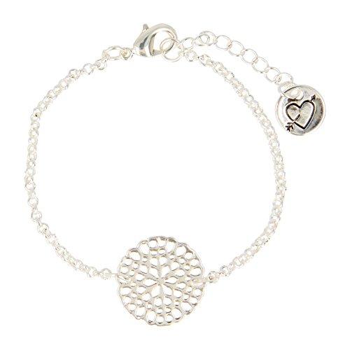 Otazu Handgefertigte Silber Flower Disc Armband für Frauen - Bohemian Band für Mädchen Silber Armband - Elegante und modische Armkette für alle Outfits