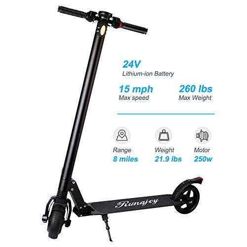 RND Electric Scooter for Adults Folding Commuting Scooter 8 Mile Long Range with Explosion-Proof Tire, E-ABS Disc Dual Brake, 250W Motor Max Speed 15Mile/H, Max Weight 260lbs (Black1)