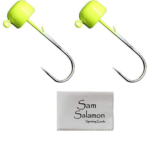 Z-MAN Finesse ShroomZ Jigheads Tackle (2 Stück) mit Micro Sam Salamon Tuch, Hellgrün, 1/15 oz