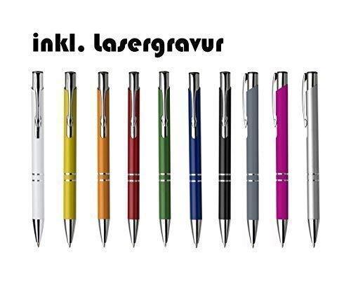 100 Stück Exklusiver Kugelschreiber aus Aluminium mit blau schreibender Mine, Logo Gravur Werbeanbringung graviert als Lasergravur (pink)