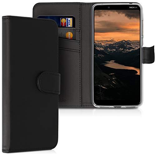 kwmobile Carcasa Compatible con Nokia 3.1 Plus (2018) - Funda de Cuero sintético con Tarjetero en Negro