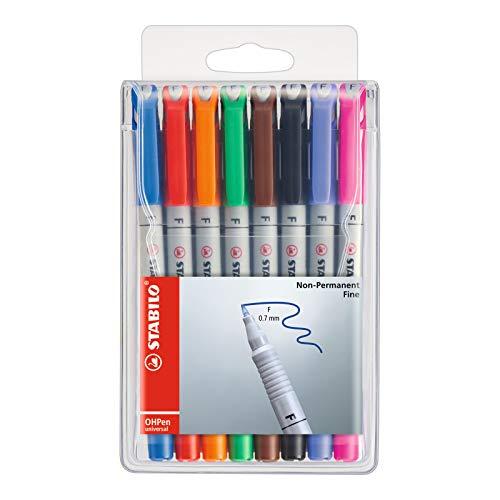 Folienstift - STABILO OHPen universal - wasserlöslich fein - 8er Pack - mit 8 verschiedenen Farben