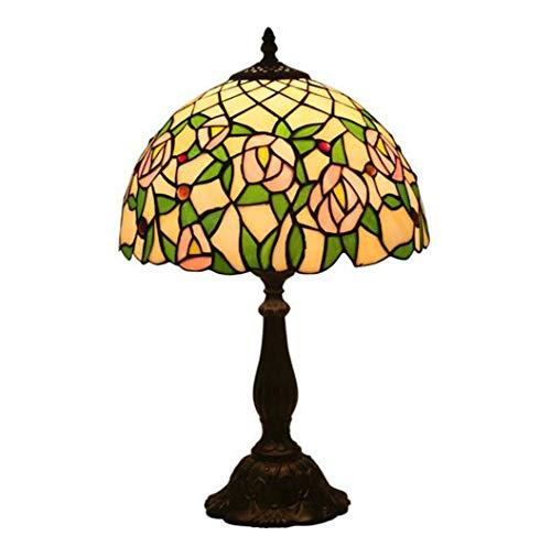 Tiffany-Stil Tischlampe Handgefertigte Glasmalerei Rose Blumenmuster Tischlampe mit Zink-Legierung Basis Höhe 19 Zoll Breite 11,81 Inch