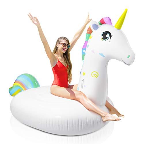 TOYMYTOY Flotador Inflable de La Piscina del Unicornio Paseos Inflables del Unicornio Gigante Paseo en La Balsa del Unicornio para La Fiesta de La Piscina del Verano para Adultos Y Niños