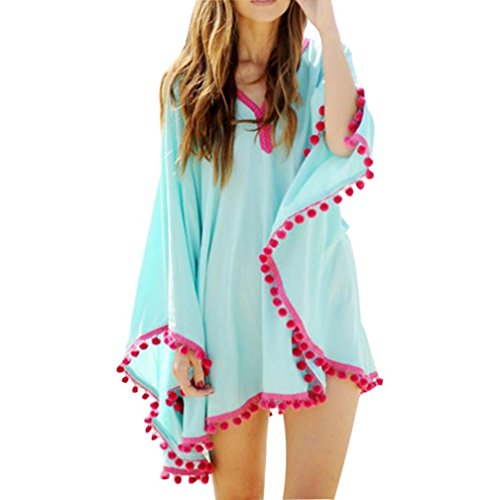 Women Summer Cover Up Bohemia Tassel Swimsuit Bikini Dress