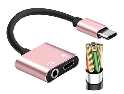 Domxteck Cable Adaptador de Audio de Typc C a 3.5mm Compatible con Huawei, Honor, Motorola, Xiaomi, Redmi, Meizu.Samsung, etc.