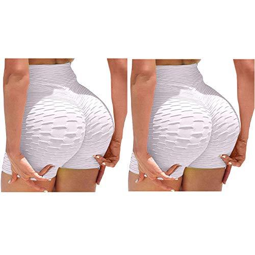Pudyor 3Pcs Pantalones Cortos Deportivos para Mujer Shorts Jacquard Leggins Push up de Cintura Alta Mallas de Yoga para Correr Gym Fitness Pantalón de Deporte Leggings Transpirables Elásticos