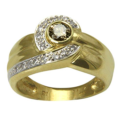 "Anillo de oro con diamante ""Bicolor"" (oro amarillo 585) – Anillo de diamante – con valor experto"