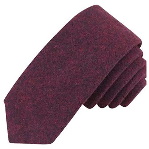 Corbata de algodón rojo burdeos