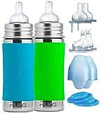 Pura Biberon in acciaio inossidabile per bambini (ugelli in silicone a flusso medio, ugelli a flusso rapido, ugelli di iniezione (confezione da 2) Aqua & Green 11 oz / 325 ml