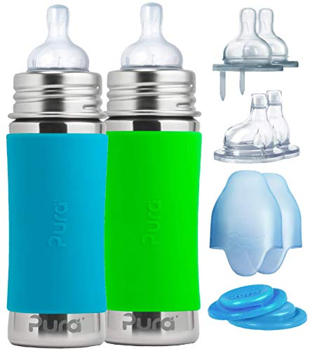 Pura Stainless Gift Set with 11 oz/325 ml Stainless Steel Infant Bottles, (2) Silicone Medium-Flow Nipples (2), Fast-Flow Nipples (2), XL Sipper Spouts (2), Sealing Disks (2), Sleeves (2)-Aq&Gr