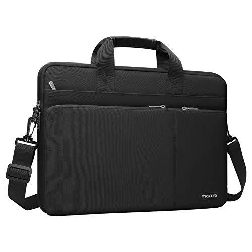 MOSISO 360 Funda Protectora Compatible con 13-13,3 Pulgadas MacBook Pro/MacBook Air/Computadora Portátil, Maletín de Poliéster con 3 Bolsillos Delanteros, Asa de Fijación y Cinturón de Carro,Negro