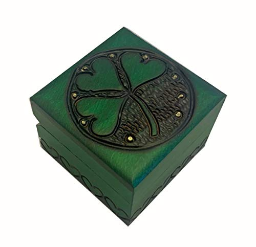 Small Wooden Shamrock Box Polish Handmade Irish Luck Keepsake Celtic Jewelry Cufflink Ring Box