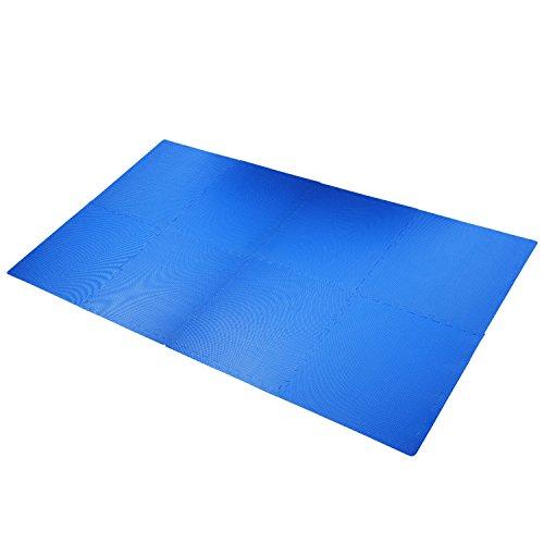 Outsunny HOMCOM Tappeto Gioco Bimbi 60x60cm Set 8 Pezzi, Materiale Isolante, Resistente all'umidità Blu