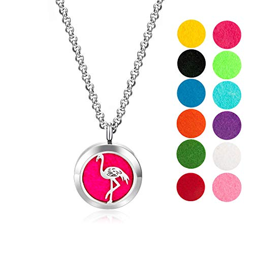 mEssentials Flamingo Essential Oil Diffuser Necklace Gift Set - Includes Aromatherapy Pendant, 24' Stainless Steel Chain, Refill Pads