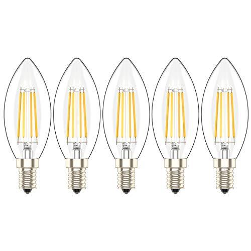 E14 LED Lampadina a Candela 4W,Bianco caldo 2700 K, 300 LM, Equivalente a Lampade ad Incandescenza da 30W, C35 SES LED Lampadine a Vite Edison Piccola, Confezione da 5 Pezzi