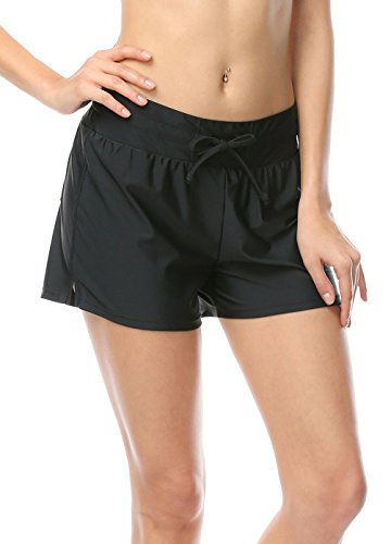 OUO Damen UV Schutz Schwarz Wassersport Schwimmen Bikinihose Badeshorts Schwimmshorts Boardshorts XXL
