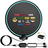 HD Digital TV Antenna Long Range 150-200 Miles Indoor Amplified Signal Booster Support 4K 1080P UHF VHF FM Local Channels with 13.4ft Coax Cable and USB Power Adapter, Round Shape