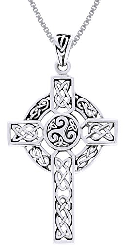 Jewelry Trends Celtic Trinity Triskele Cross Sterling Silver Pendant Necklace 18'
