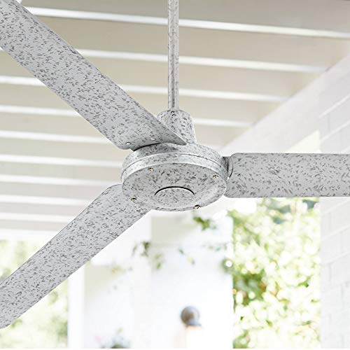 """60"""" Turbina DC Modern Contemporary Industrial 3 Blade Outdoor Ceiling Fan with Remote Control Galvanized Metal Damp Rated for Patio Exterior House Porch Gazebo Garage Barn - Casa Vieja"""
