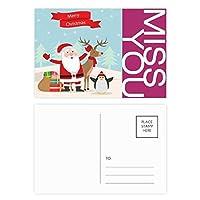 クリスマスのサンタクロースのヘラジカペンギン祭り ポストカードセットサンクスカード郵送側20個ミス