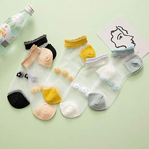 KANGDE 5pcs Calcetines Lindos para Las Mujeres Calcetines Calcetines Transparentes Dulces Calcetines de Tobillo con Flores de Margarita