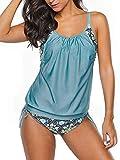 Century Star Women's Two Piece Tankini Swimsuit Floral Tank Top Bikinis Padded Swimwear With Boyshorts A Blue Green 8-10