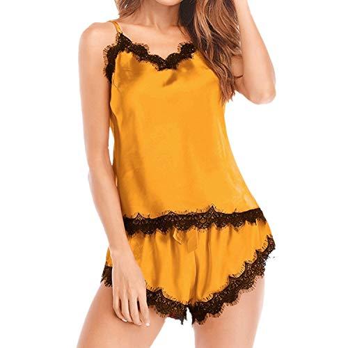 Proumy Pijama Mujer Verano de Encaje de Pestañas Vestido de Dormir Seda Bata Sexy Dos Piezas Ropa Interior Cuello V Transparente Chaleco con Calzoncillos Camisola de Talla Grande Conjunto Orange