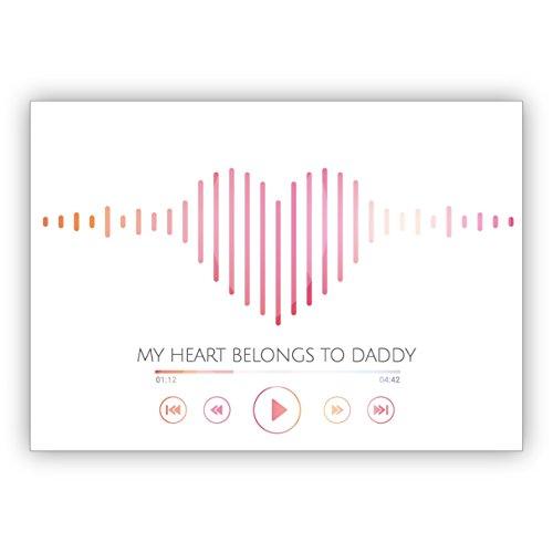 1 leuke verjaardagskaart/vaderdagkaart met hart-sound look: My hear belongs to daddy • nobele felicitatiekaart voor verjaardag met envelop zakelijk & privé