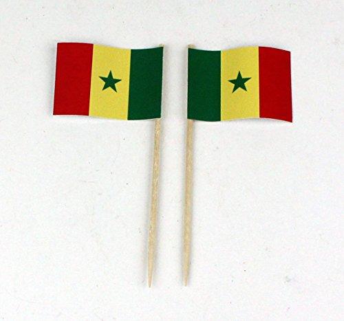 Buddel-Bini Party-Picker Flagge Senegal Papierfähnchen in Profiqualität 50 Stück Beutel Offsetdruck Riesenauswahl aus eigener Herstellung